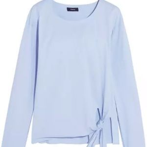 Theory soft blue serah cotton tie front blouse